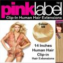 Pink Label 14 Inches Clip In Human Hair Extensions Colour SB