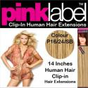 Pink Label 14 Inches Clip In Human Hair Extensions Colour P16/24/SB
