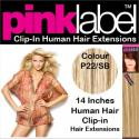 Pink Label 14 Inches Clip In Human Hair Extensions Colour P22SB